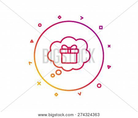 Dreaming Of Gift Line Icon. Present Box In Comic Speech Bubble Sign. Birthday Shopping Symbol. Packa