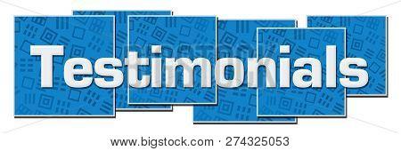 Testimonials Text Written Over Blue Horizontal Background.