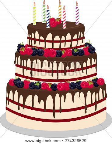 Three-tiered Wedding Or Birthday Cake In Chocolate, Decorated With Paspberries And Blueberries Isola