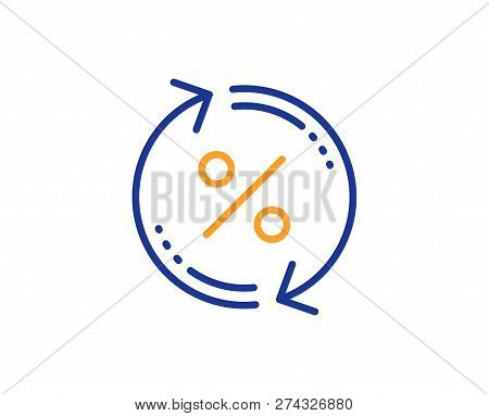 Loan Percent Update Line Icon. Discount Sign. Credit Percentage Rate Symbol. Colorful Outline Concep