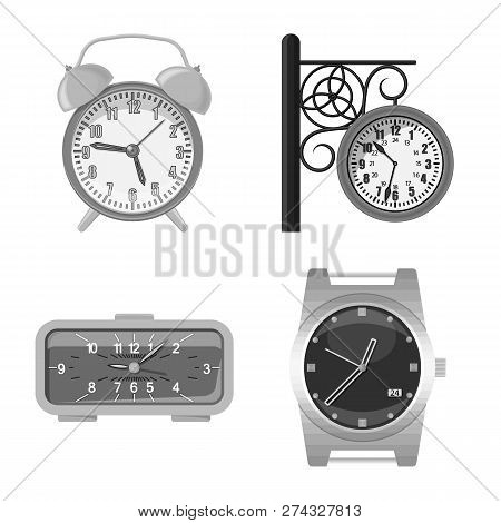 Isolated Object Of Clock And Time Logo. Set Of Clock And Circle Stock Vector Illustration.
