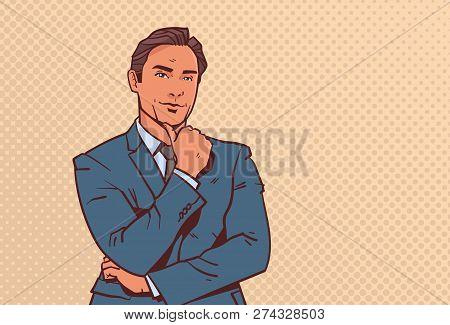 Businessman Hold Hand Finger On Chin Business Man Pondering Male Cartoon Character Portrait Pop Art