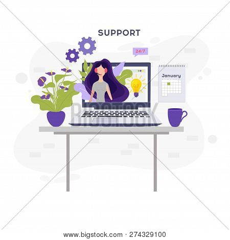 Online Support Concept.online Global Technical Support 24 7. Vector Illustration Idea Of Advice, Hel
