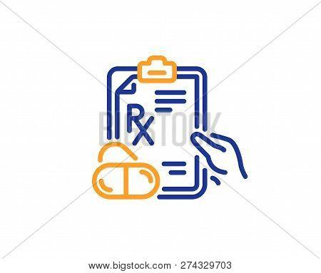 Prescription Rx Recipe Line Icon. Medicine Drugs Pills Sign. Colorful Outline Concept. Blue And Oran
