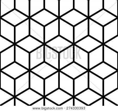 Geometric Pattern. Cube Seamless Pattern. Geometric Line Background