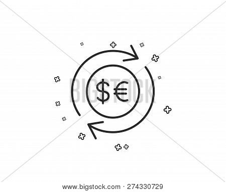 Money Exchange Line Icon. Banking Currency Sign. Euro And Dollar Cash Transfer Symbol. Geometric Sha