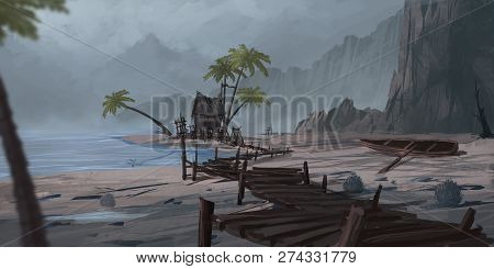 Chinese Mountain And River. Fiction Backdrop. Concept Art. Realistic Illustration. Video Game Digita