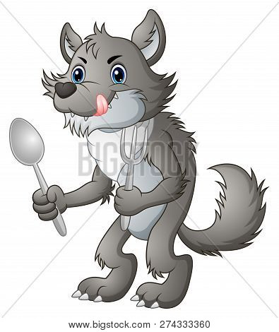 Vector Illustration Of Hungry Old Wolf Cartoon