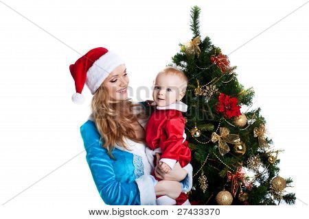 christmas girl with baby santa claus portrait