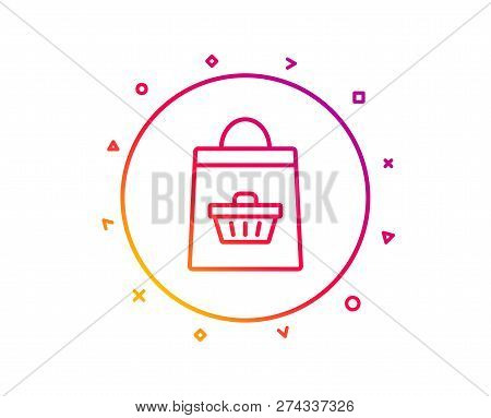 Shopping Bag With Cart Line Icon. Supermarket Buying Sign. Sale Symbol. Gradient Pattern Line Button