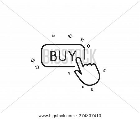 Click To Buy Line Icon. Online Shopping Sign. E-commerce Processing Symbol. Geometric Shapes. Random