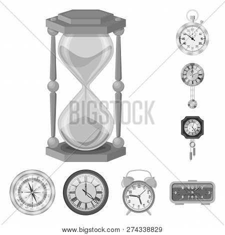 Vector Design Of Clock And Time Logo. Collection Of Clock And Circle Stock Vector Illustration.