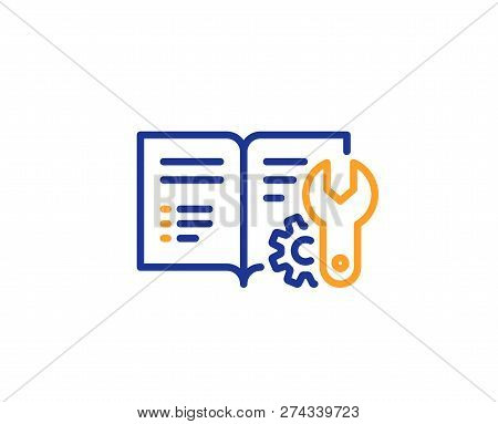 Engineering Documentation Line Icon. Technical Instruction Sign. Colorful Outline Concept. Blue And