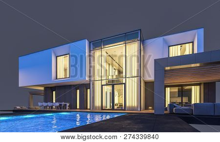 3D Rendering Of Modern House In Evening Isolated On Gray.