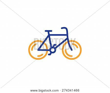 Bicycle Transport Line Icon. Bike Public Transportation Sign. Driving Symbol. Colorful Outline Conce