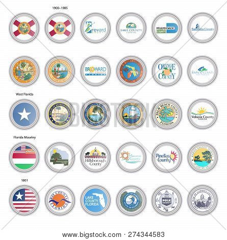 Set Of Vector Icons. Flags And Seals Of Florida State, Usa. 3d Illustration.
