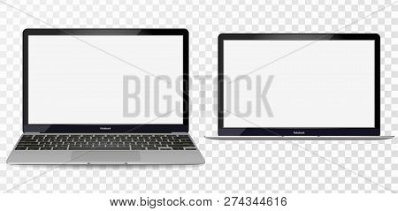 Laptop Mockup With Blank Screen - Front View.open Laptop With Blank Screen Isolated On Transparent B