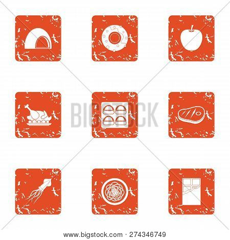 Delicacy Meat Icons Set. Grunge Set Of 9 Delicacy Meat Icons For Web Isolated On White Background