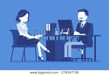 Management Meeting For Giving Information, Instructions. Male Boss, Nice Female Secretary At Daily B