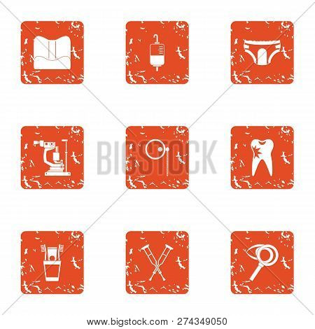 Inpatient Icons Set. Grunge Set Of 9 Inpatient Icons For Web Isolated On White Background
