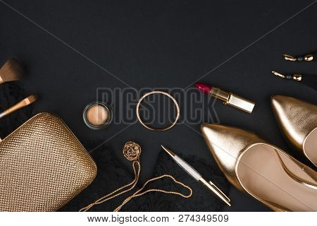 Woman Fashion Accessory Set On Black Background With Copy Space