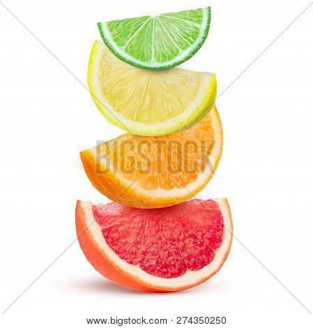 Wedges Citrus Fruits Isolated On White Background.