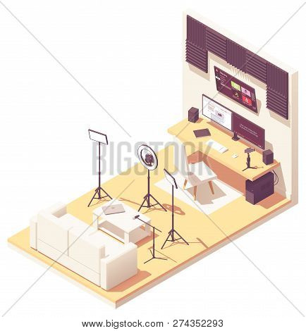 Vlogger Or Video Blogger Studio Workspace. Vector Isometric Room Cross-section With Acoustic Panels,