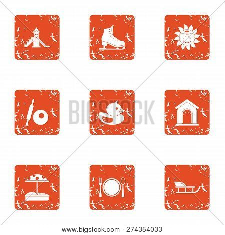 Chute Icons Set. Grunge Set Of 9 Chute Icons For Web Isolated On White Background