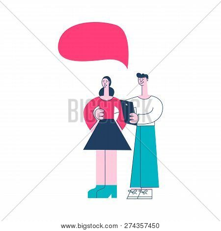 Vector Illustration Of Online Communication Concept In Flat Style.