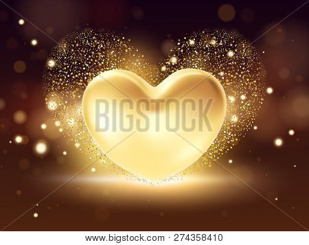 Golden Heart Background. St Valentines Symbol On Golden Background. 3d Realistic Illustration Design