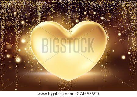 Golden Heart Background. St Valentines Symbol On Golden Background. 3d Realistic Illustration Design