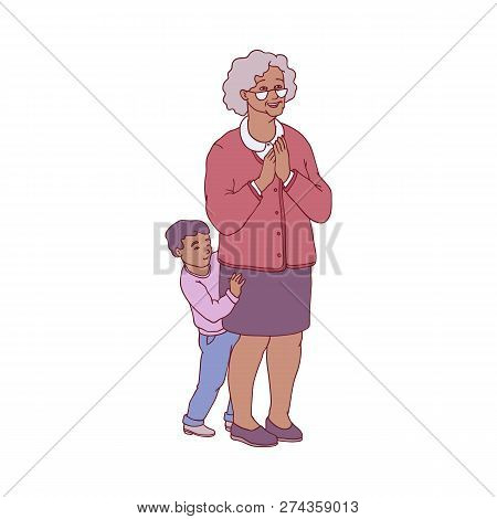 Vector Illustration Of Grandmother And Her Grandson Standing In Pleasant Anticipation.