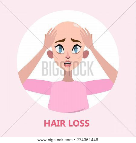 Hair loss problem. Stressed woman with alopecia poster