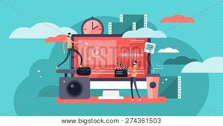 Video Editor Vector Illustration. Flat Mini Persons Concept With Camera Work And Footage Editing. Mu