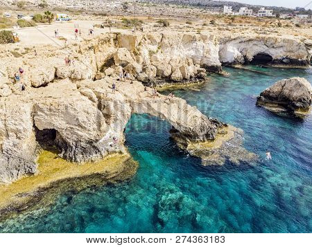Bridge Of Lovers Rock Formation On The Rocky Shore Of The Mediterranean Sea On The Island Of Cyprus