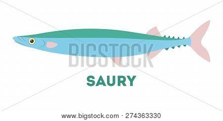 Saury Fish Atlantic Creature. Idea Of Fishing