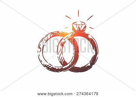 Engagement, Wedding, Rings, Gift, Marriage Concept. Hand Drawn Wedding Rings Concept Sketch. Isolate
