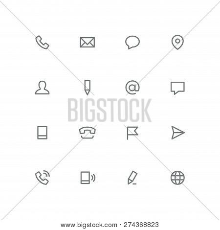 Bold Outline Icon Set - Phone, Envelope, Chat, Address, Man, Pen, Mail, Message, Mobile, Flag, Airpl