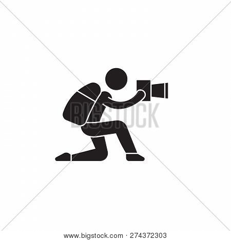 Attentive Photo Tourist Black Vector Concept Icon. Attentive Photo Tourist Flat Illustration, Sign