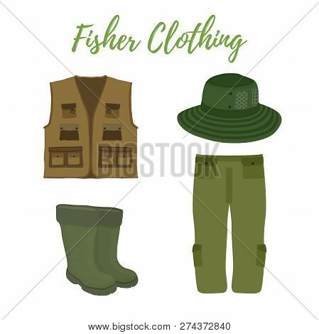 Vector Cartoon Clothing For Fishing, Hunting. Rubber Waterproof Boots, Waders And Vest. Fisher, Hunt