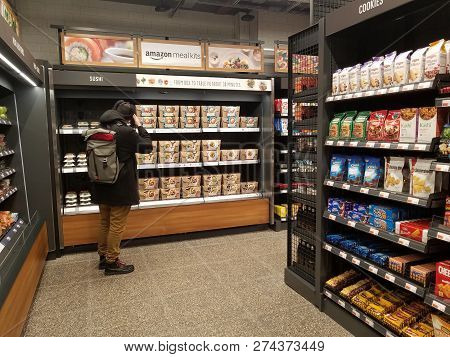 Amazon Go Convenience Store Shelves Stocked With Food With Customer Shopping, Chicago, Il December 1