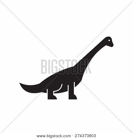 Brachiosaurus Black Vector Concept Icon. Brachiosaurus Flat Illustration, Sign
