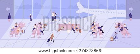 Men And Women Inside Airport Terminal Building With Large Panoramic Windows And Airplanes Seen Throu