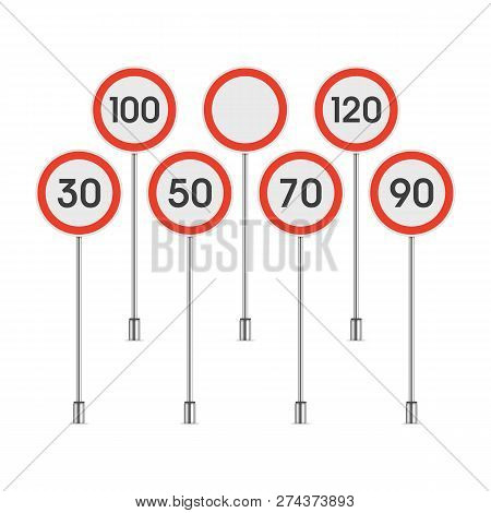 Traffic Speed Limit Sign Set Isolated On White Background. Limit Of Maximum Speeds Road Signs. Reali
