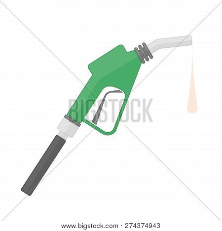 Fuel Pump Icon In Flat Style. Petrol Or Gas Station Sign. Gasoline Pump Nozzle Isolated On White Bac