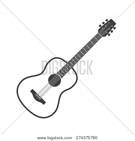 Wooden Acoustic Guitar In Simple Flat Style. Classical Six-string Guitar Icon Isolated On White Back