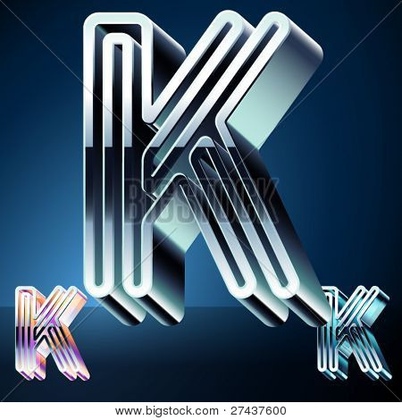 Three-dimensional ultra-modern alphabet from chrome or metal letters. Character k