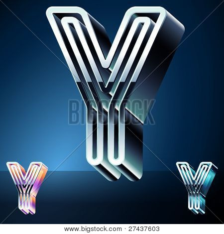 Three-dimensional ultra-modern alphabet from chrome or metal letters. Character y