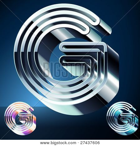 Three-dimensional ultra-modern alphabet from chrome or metal letters. Character g