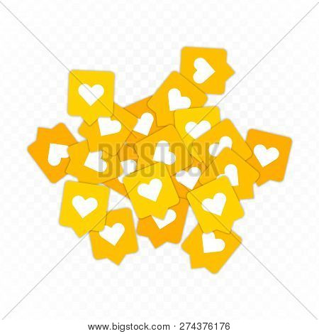 Like, Heart Icons Background. Social Nets Orange Heart Web Buttons Isolated On Transparent Backgroun